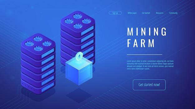 Изометрические шахты фермы целевой страницы концепции.