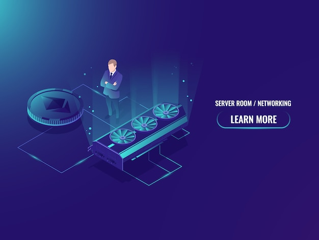 Isometric mining farm server, extract crypto currency miner, server room