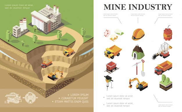 Isometric mining industry composition with factory industrial vehicles digging quarry mine precious stones dynamite shovel pickaxe trees hammer drill miner helmet