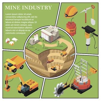 Isometric mining industry composition with gold extraction area near factory heavy truck excavator quarry machine hammer drill dynamite gems shovel pickaxe helmet