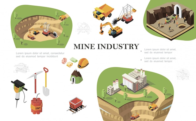 Isometric mining industry composition with industrial machines digging quarry miners working near mine factory drill pickaxe shovel dynamite trolley precious stones helmet