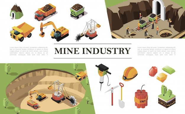 Isometric mining industry composition with quarry machine excavator heavy truck workers mine precious stones hammer drill pickaxe dynamite helmet shovel trees