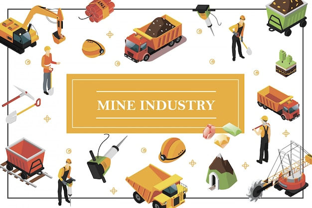 Isometric mining industry composition with quarry machine heavy truck excavator trolley miners hammer drill shovel pickaxe helmet precious stones dynamite mine