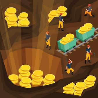 Isometric mining industry concept