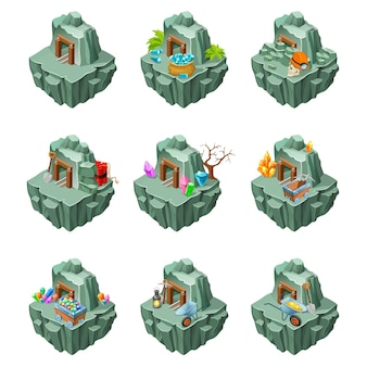 Isometric mining islands set