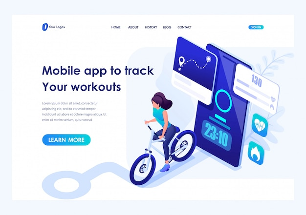 Isometric mobile app to track your workouts, girl running. header concept. template landing page for website