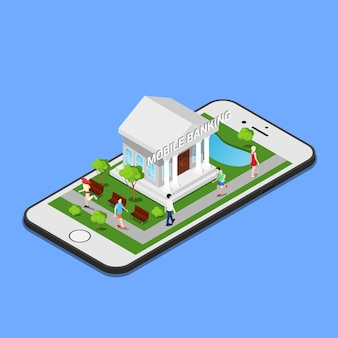 Isometric mobile banking. isometric bank. mobile payment.