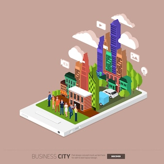 Isometric mobile city connected