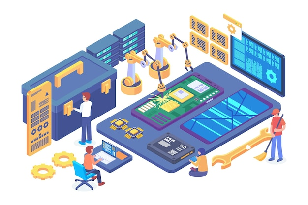 Isometric mobile under construction vector concept