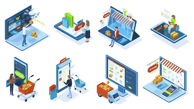 Isometric mobile e-commerce online shopping concept. people make purchases use mobile apps and payment systems vector illustration set. mobile shopping orders