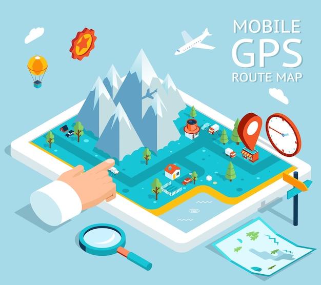 Изометрический мобильный gps-навигатор. плоская карта с обозначениями и маркерами.