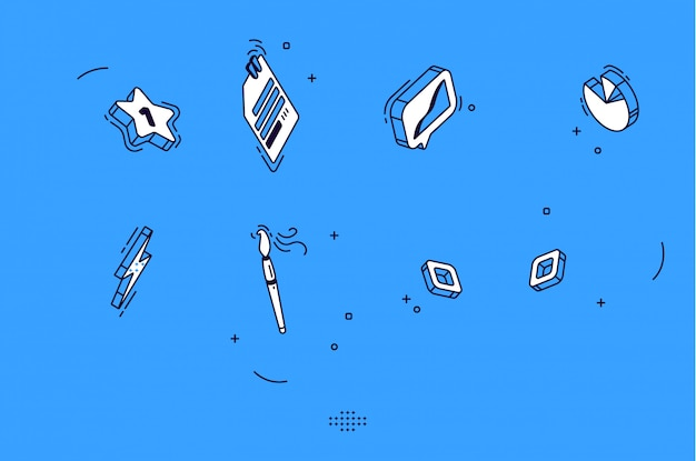 Isometric mobile icons for business, marketing