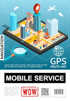 Isometric mobile navigation service poster with city on smartphone screen magnifier and map pointer  illustration