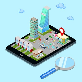 Isometric mobile navigation. tourism industry. modern city on the tablet screen.