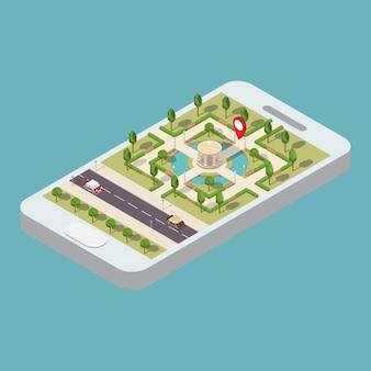 Isometric mobile navigation