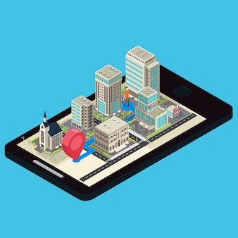 Isometric mobile navigation