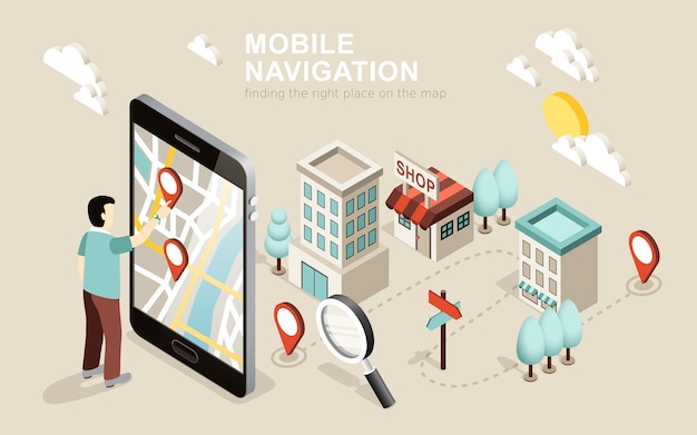 Isometric  of mobile navigation