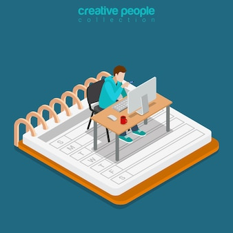 Isometric mobile office work business concept. flat 3d isometry web site conceptual illustration