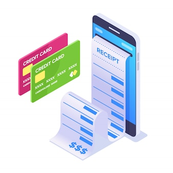 Isometric mobile payment concept. smartphone and cashier's check. bank cards for online payment