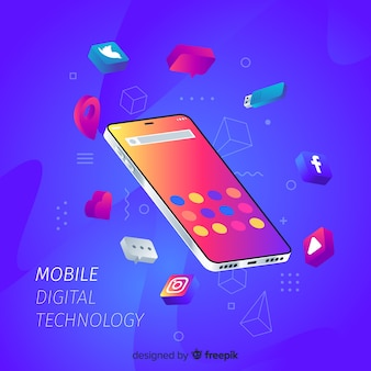 Isometric mobile phone surrounded by apps