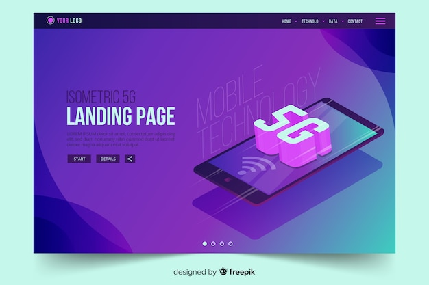 Isometric mobile phone with 5g landing page