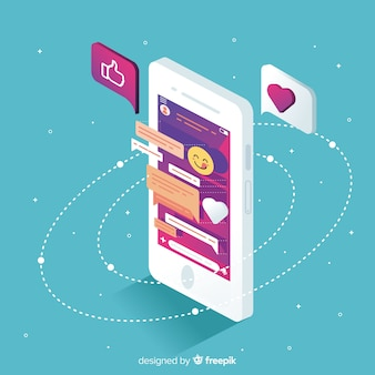 Isometric mobile phone with chat and emojis