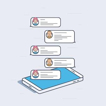 채팅 메시지, 알림 개념 아이소 메트릭 휴대 전화. 화려한 현대 일러스트입니다. 프리미엄 벡터