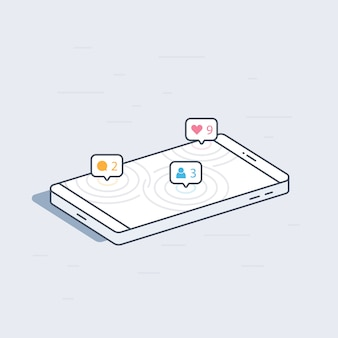 Isometric mobile phone with social network notifications concept. colorful modern  illustration.