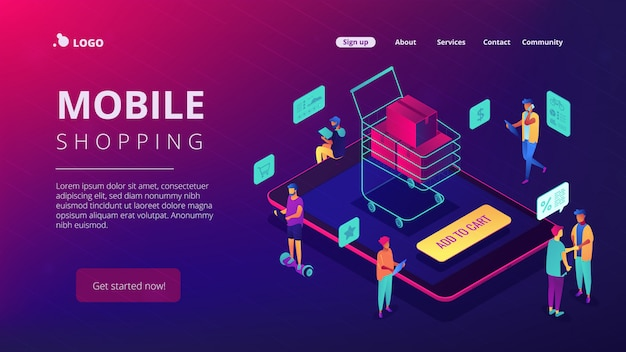Isometric mobile shopping and buying landing page.