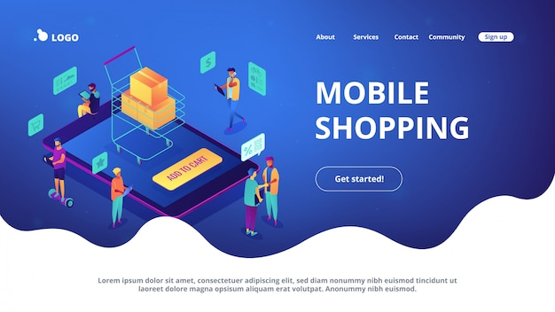 Isometric mobile shopping online landing page.