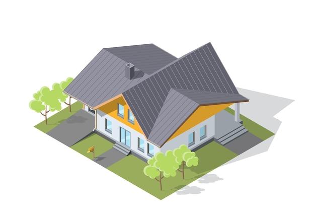 그림자와 함께 아이소 메트릭 현대 큰 집