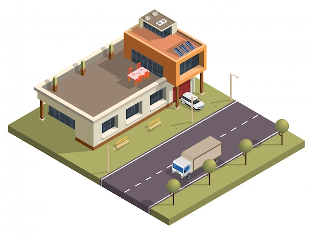 Isometric modern building with garden view in front of transport street background.