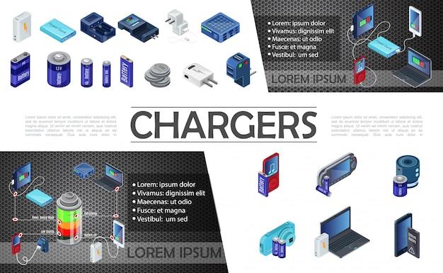 Композиция изометрических современных зарядных устройств с блоком питания и батареями разной емкости для аудиоплеера с мобильной камерой ноутбука