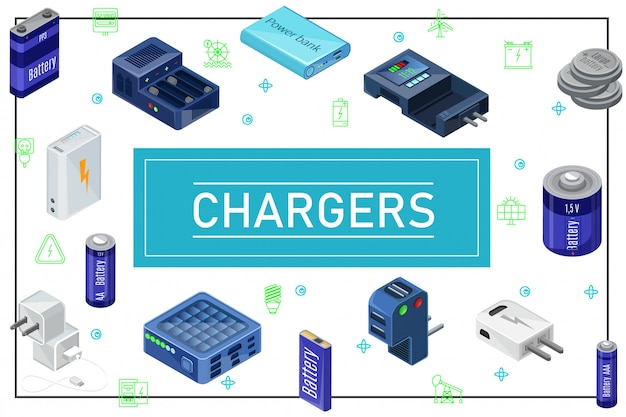 Isometric modern charging sources composition with plugs chargers batteries of different capacity in frame