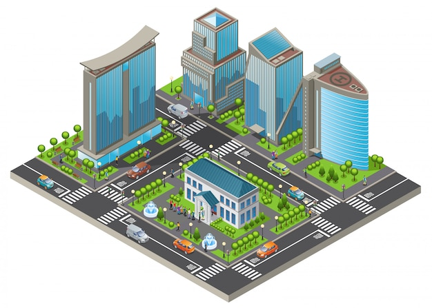 Isometric modern cityscape template with office and living buildings cars trees road people visiting museum isolated