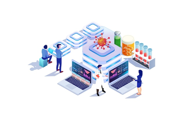 Isometric modern covid19 vaccine medical research illustration