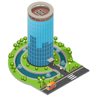 Isometric modern glass office building concept