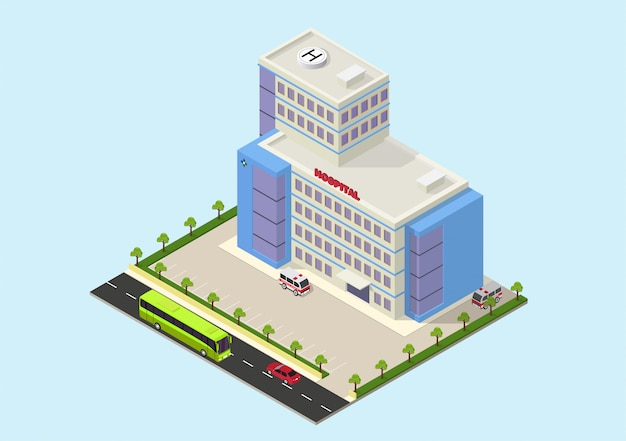 Isometric modern hospital building