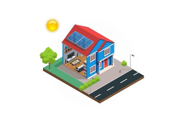 アイソメトリックモダンハウス太陽電池図システム