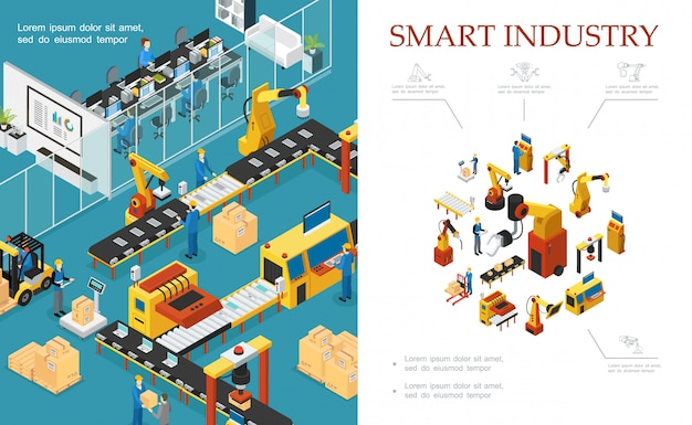 自動組立および包装ラインのロボットアームエンジニアオペレーターを備えた等尺性の近代的な工業生産構成