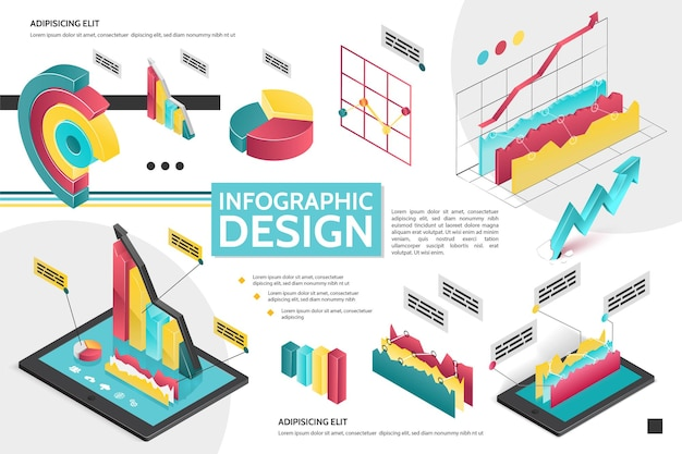 Isometric modern infographic concept with diagrams graphs pie charts for business presentation illustration