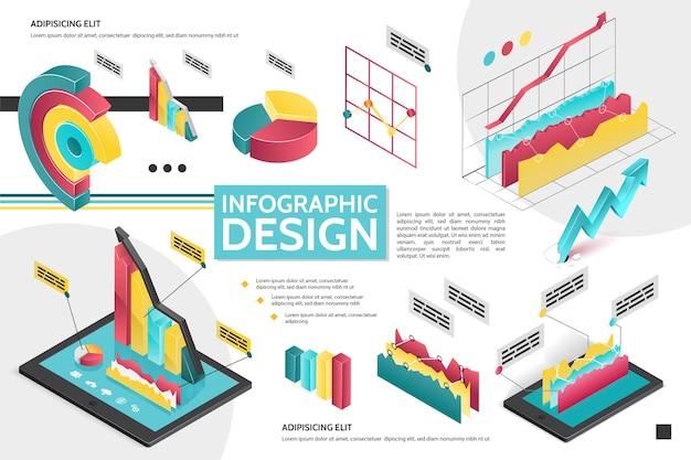 Изометрическая современная инфографическая концепция с диаграммами, диаграммами, круговыми диаграммами для иллюстрации бизнес-презентации
