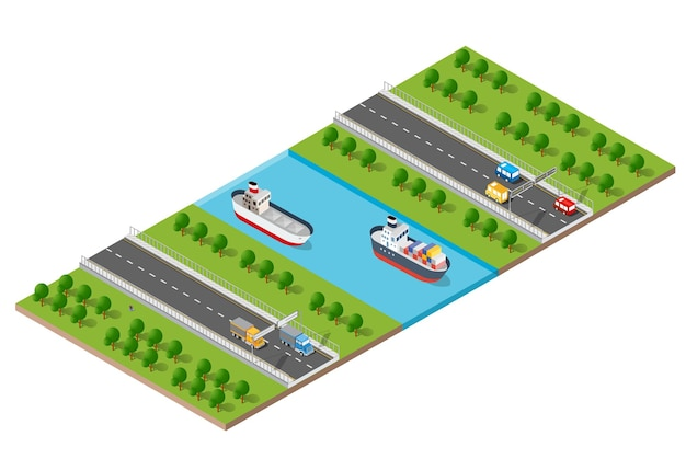 Изометрические современный современный город с набережной реки воды. примеры транспортных маршрутов, улиц с автомобилями, лодками и кораблями