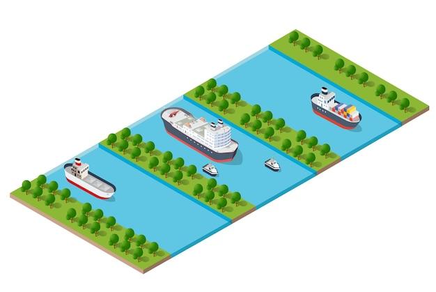 水の川の堤防がある等尺性の近代的な近代都市。輸送ルート、車、ボート、船のある通りの例
