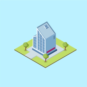 Isometric modern office building