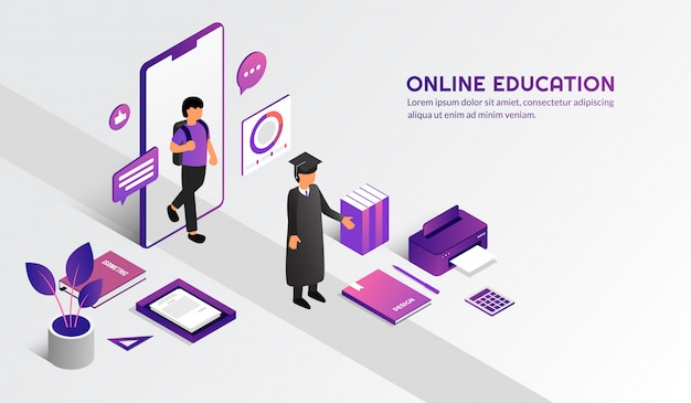 Isometric modern online education concept, learn form home by e-learning course