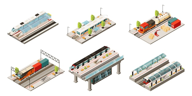 Isometric modern railway transport collection with locomotive freight and passenger trains isolated