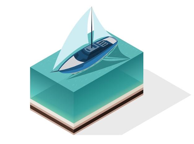 等尺性の現代の船。大きな帆のあるヨット。アイソメトリックアイコンまたはインフォグラフィック要素