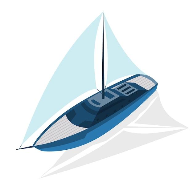 等尺性の現代の船。大きな帆のあるヨット。ベクトルアイソメアイコンまたはインフォグラフィック要素