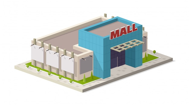 Isometric modern shopping mall center
